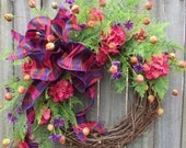 Wreath, Summer and Springtime Wreath, Spring Wreath with Bright Purple and Pink, Summer Wreath Door Decor, Mother's Day Gift, Housewarming