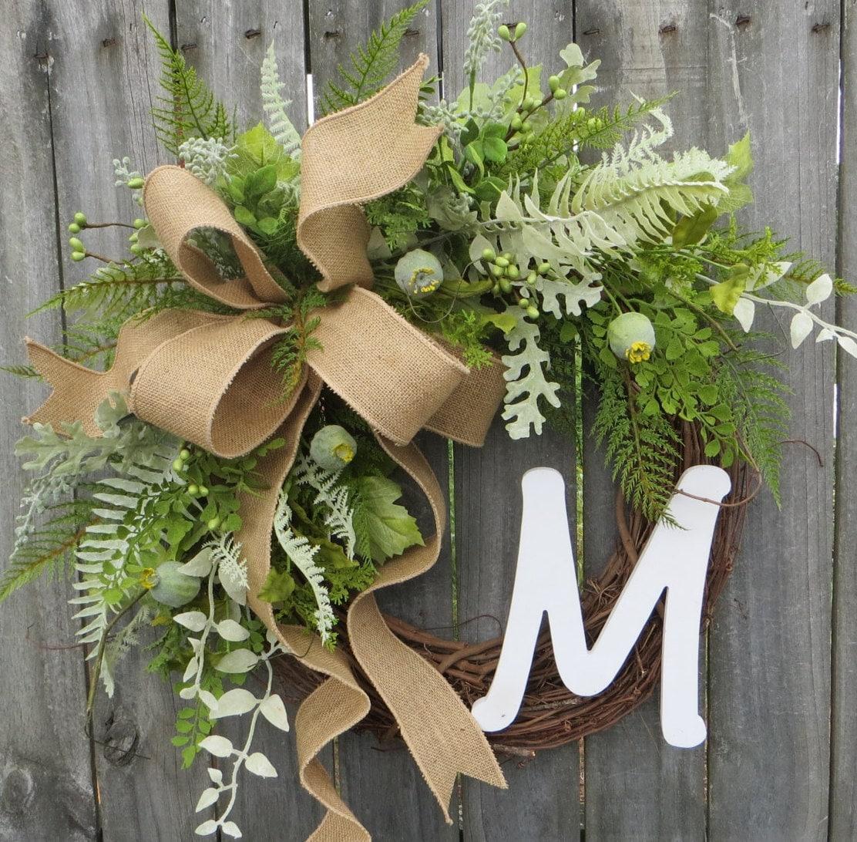 greenery wreath wreath   year  monogram wreath