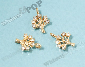 1 - Tiny Gold Plated Tree Rhinestone Alloy Charm, Small Tree Charm, 16mm x 11mm (5-2A)