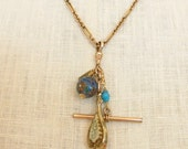 Antique Victorian Watch chain necklace, Clip pendant with antique charms, Two Girls Gems