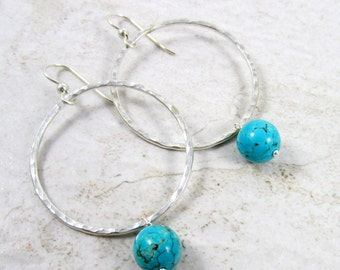 Turquoise Hoop Earrings, Silver Hammered Hoops, Mother's Day Gift Idea, December Birthstone, Boho Fashion, Gemstone Jewelry, Southwestern
