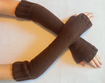 Arm Warmers/Fingerless Gloves/Mitts in Chocolate Brown