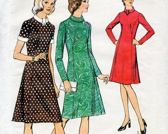 1970s Princess Line Dress Pattern Style 4365 Vintage Sewing Pattern Summer or Winter Knee Length Roll Collar Dress Bust 34 FF Unused
