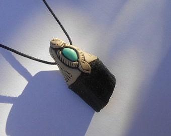 Minimalist Black Tourmaline Pendant and Amazonite / Tourmaline Pendant / black aqua blue / Jewelry / pendant / PROTECTIVE CRYSTAL /khayanite