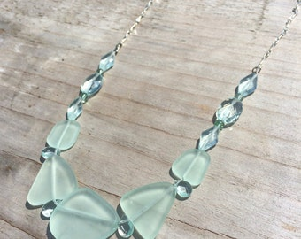 Aqua Sea Glass and Glass of Necklace