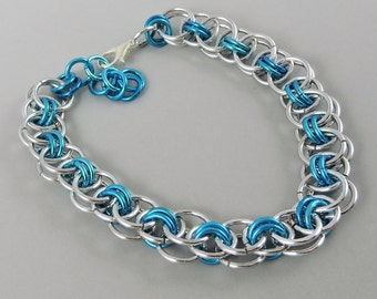 Light Blue Chainmail Bracelet, Chainmaille Bracelet, Helm Weave Chain Mail Jewelry, Helm Bracelet, Blue Jewelry