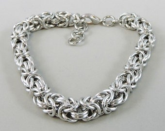 Chainmail Bracelet, Silver Color Chainmaille Bracelet, Chain Mail Jewelry, Byzantine Bracelet
