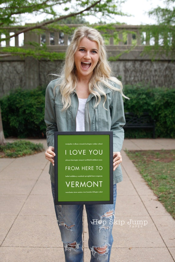 Gift Idea for Parents, Vermont Art Print, I Love You From Here To VERMONT, Shown in Shamrock - Choose Color Canvas Frame
