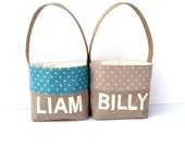 Personalized Boys Easter Basket Grey Dots