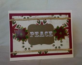 Peace Poinsettia Christmas Card
