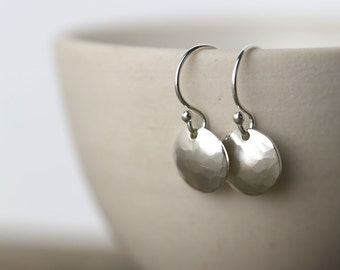 Silver Earrings Dangle Handmade, Gift for Women, Hammered Round Disc Earrings - Sterling Silver Earrings - Silver Jewelry