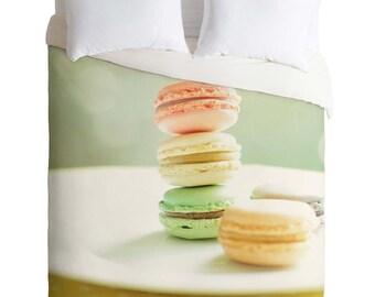 Duvet Cover ~ Sweet Macarons, foodie lover housewarming gift, dorm bedding idea, unique daughter birthday gift, pastel sweet bedroom decor