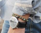 Men's Bracelet. Bead bracelet for men. Jewelry for men. Adjustable elastic bracelet. Forrest Jasper and Black CZ Pave Bead Bracelet