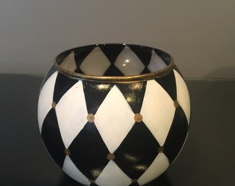 Painted Glass Candle Holder - Harlequin