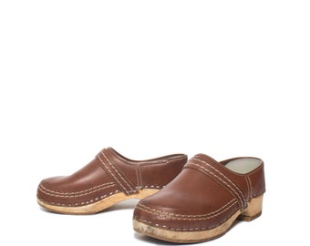 8 | Women's Vintage Clogs made in Holland Leather and Wood Slip On Clogs