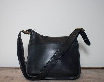 Vintage Coach Bag Black Leather Saddle Satchel Handbag