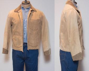 MED | Wrangler Tan Canvas Light Weight Jacket w/ Corduroy Trim  Men's Work Wear