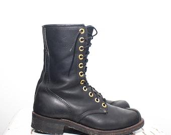8 | Men's Short Linesman Boots Black Leather Work Boots