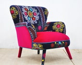 RESERVED for Jill: 2 Suzani Armchairs (pink sky & birds in love I) +