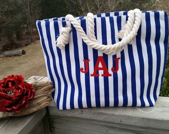 Sister In  Law Gift, Weekender Beach Bag, Personalized Nautical Tote