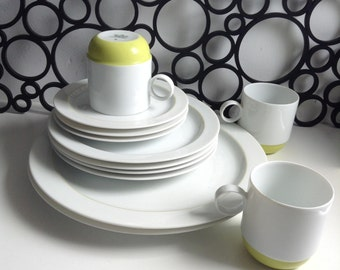12 piece Rosenthal Studio-Line China Dishes,  Springtime.  Made in Germany. Vintage 1960.  Chartreuse on white.  Mid Century, Mod Pop era.