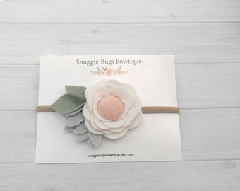 Wool Felt Pom Rose Headband or Hairclip- Ivory,  Blush and Silver Newborn Baby Photoprop - Infant - Toddler - Adult