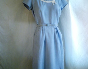 1950's Dress Blue and White Linen Wiggle Dress with Beads Easter Dress 37 x 26 x 39