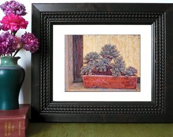 Giclee fine art print, Oil Painting Print, Succulents, Archival Art Print, Aeonium in windowsill