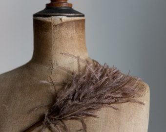 1920s 30s Brown feather for millinery and hat crafting