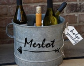 Merlot Vintage Galvanized Bucket - hand painted vintage find from Europe