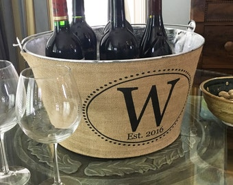 Monogrammed Rustic Wine Tub