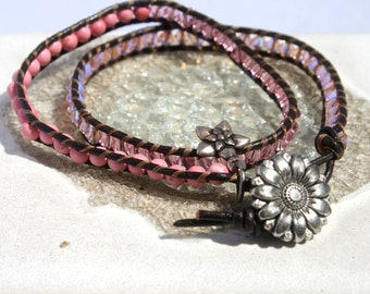 Double Wrap Chan Liu style Bracelet - Coral