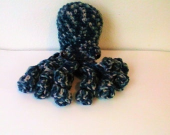 Amigurumi Octopus - Blue and Tan Multi Octopus with Safety Eyes