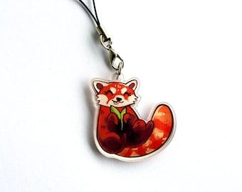 Cute Happy Red Panda - Acrylic Clear Phone Charm Keyring Keychain
