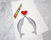 Narwhal Kitchen Tea Towel - Screen Printed Flour Sack Towel - Eco Friendly Kitchen Towel - Nautical