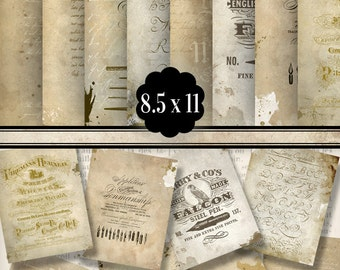 """Shabby Grunge """"Writing"""" Papers 8.5 x 11 inch paper crafting tattered background instant digital download collage sheet - VDPAGR1263"""