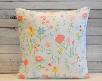 White floral pillow cover with pink yellow and blue. 1 cover for 20x20 pillow insert. Shabby Chic cottage feminine couch pillow nursery.