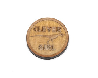 "6 ""CLEVER GIRL"" RAPTOR Charms, Cabochon, Laser Cut Supplies, Laser Engraved Wood, Earring Gauge Plug, Sustainable Wood Supplies, Lcw0083"