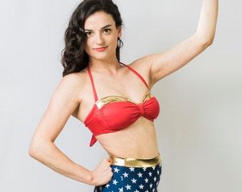 "Wonder Woman-Inspired High Waist Swimsuit - ""Diana"""