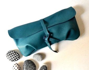 WINTER SALE Teal Turquoise Leather Clutch, Women's Gift, For Her, Leather Wallet Clutch, Soft Leather Long Clutch, Evening Clutch Bag, Leath