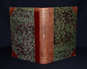 Antique Swedish Zoology / Natural History Book on Fish - Profusely Illustrated - 1/2 Calf Leather Binding & Marbled Boards - Lithographs?