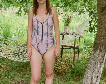 Vintage 90's printed One Piece Swimsuit with zip