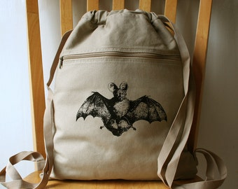 Bat Canvas Backpack Laptop Bag