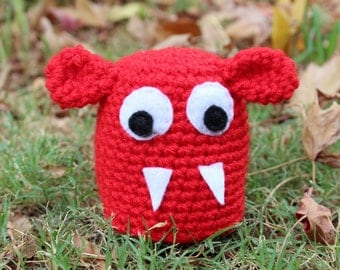 Foozle-Red Mini Monster Alien Crochet Plushie Soft Toy