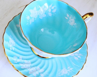 Aynsley Teacup and Saucer / Vintage Aqua Blue Tea Cup with White Flowers