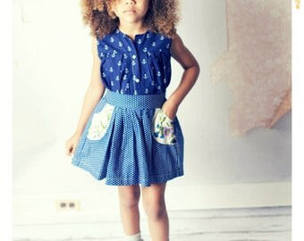 Vintage Floral and Polka Dot Skirt Blue Cotton Skirt with Pockets Girl Skirt High Waist Skirt with Belt Baby Outfit Girl Clothing 2T 3T 4T 5