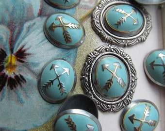 Vintage Enamel Turquoise Crossed Arrow Finding , With Or Without Setting