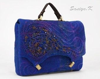 "Eco Handbag Handmade ""Royal blue"" (felted eco-friendly handmade handbags buy)"