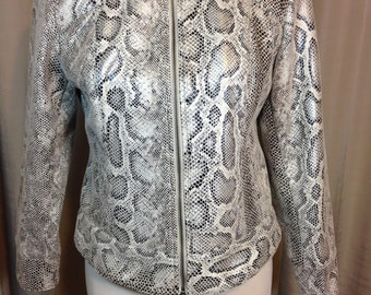 Vintage Faux Snake Skin Jacket by Ruby Rd. Petite, Ladies Size 10P, Black Silver and White Cropped Jacket