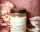 Daffodil Scented Soy Candle, Yellow, Cotton Wick, Bring Spring Inside